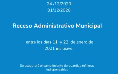 Fechas de Asueto Administrativo y Receso Administrativo Municipal